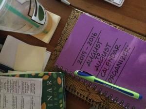 Iced tea, book, good pen and new calendar...